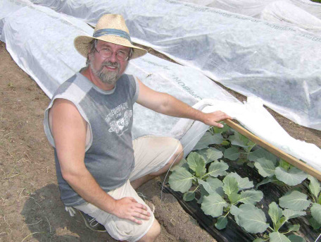 Scott in the New Terra Farm market garden